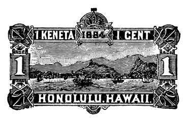 Hawaiian Island Envelope 1 Cent, 1884 vintage illustration