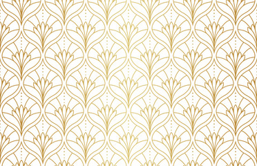 Seamless Arabesque Floral Pattern. Art Deco Style Background. Vector Abstract Flower Texture.