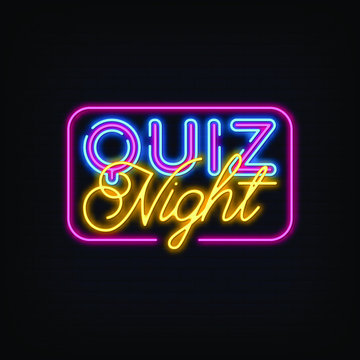 Quiz Night Neon Signs Style Text Vector