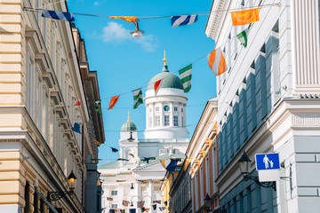 Helsinki cathedral with colorful garland in Helsinki, Finland