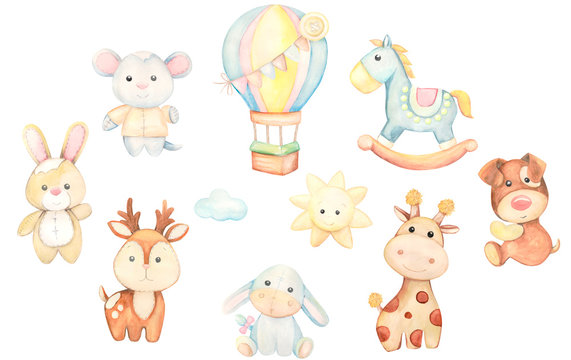 Toys watercolor set. Children's illustration.