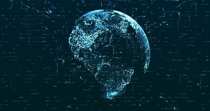 Digital space world 3d data earth background