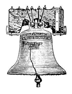 Liberty Bell, Philadelphia vintage illustration
