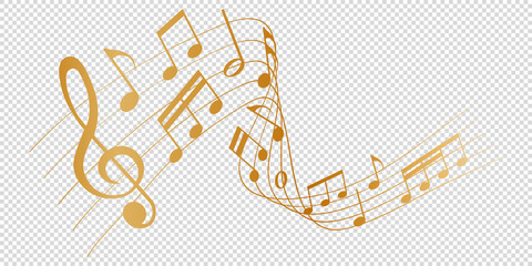 golden musical notes melody on transparent background