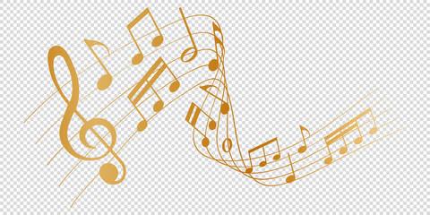 golden musical notes melody on transparent background Fotobehang