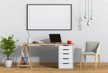 3D render interior living room workspace with laptop computer and mockup blank poster