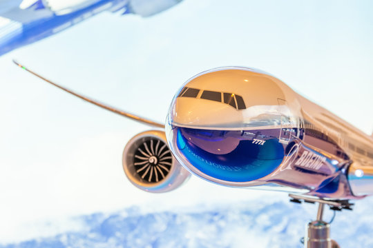 Boeing 777-X model exhibition on display. Russia, Moscow region Zhukovsky, airport Ramenskoe. Aviasalon MAKS 2019. 29 august 2019.