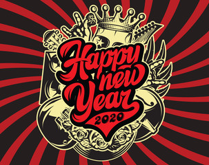Stylish vector template for printing on the theme of rock music with calligraphic inscription Happy new year
