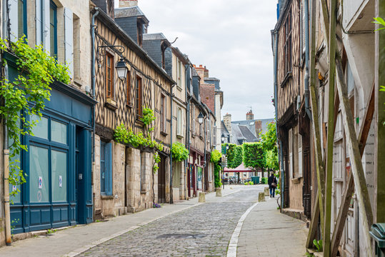 BOURGES, FRANCE - May 10, 2018: Street view of downtown in Bourges, France