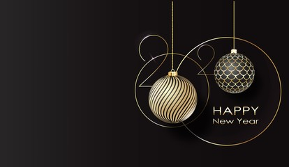 greeting card. Happy new year 2020 Golden balls.