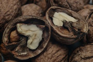 In de dag Baobab Close up fresh beautiful walnut background. Macro view.
