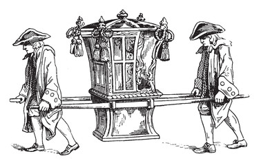 Sedan chair in 1755, vintage illustration.