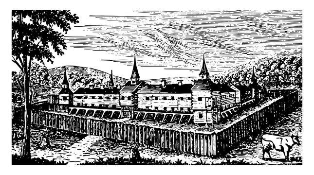 Campus Martius, Marietta, Ohio, 1791 vintage illustration
