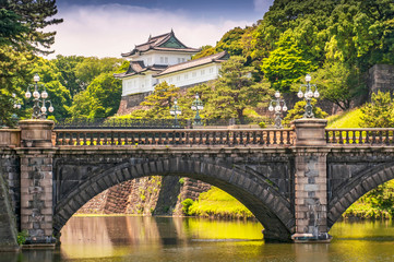 Imperial Palace with Nijubashi Bridge in Tokyo, Japan.