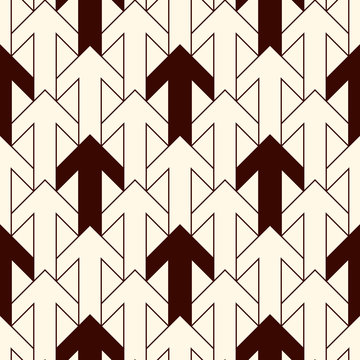 Simple modern print with interlocking arrows. Contemporary abstract background with repeated pointers. Seamless pattern