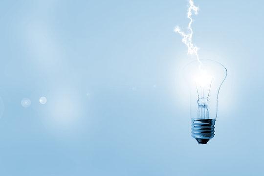 lightning bold strike in the light bulb, creative idea of the innovation concept