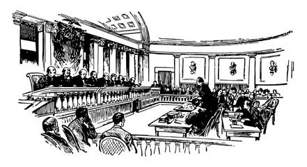 United States Supreme Court vintage illustration