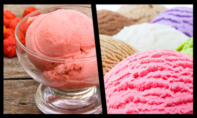 picture of summer tropical ice cream with fruit and cherry flavors