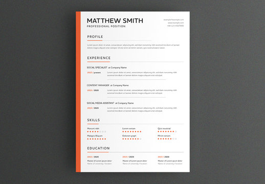 Minimal Resume Layout with Orange Sidebar