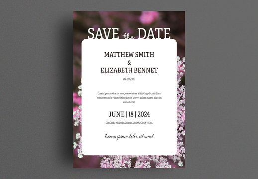 Wedding Invitation Layout with Floral Background