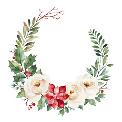 Christmas and New Year collection.Winter wreath with leaves,branches,flowers,berries,holly,poinsettia.Handpainted watercolor illustration.Perfect for invitations,print,greeting cards.