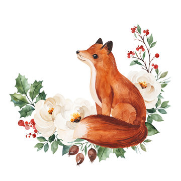 Christmas and New Year collection.Winter bouquet with leaves,branches,flowers,berries,holly and cute little fox.Handpainted watercolor illustration,Perfect for invitations and greeting cards.