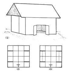 Pattern To Make A Barn vintage illustration.