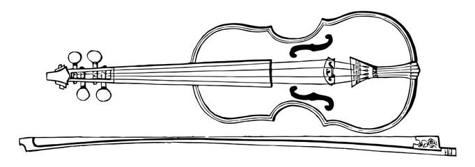 Violin and Bow, vintage illustration.