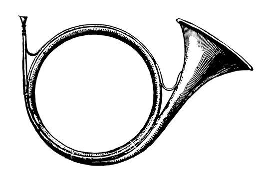 Cor de Chasse, vintage illustration.