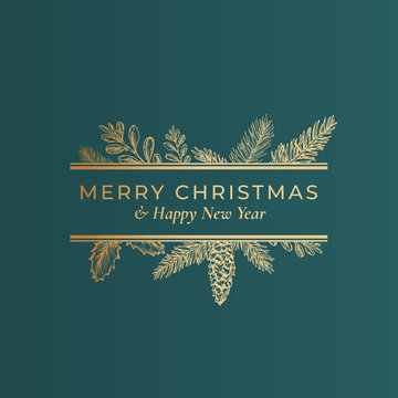 Christmas Abstract Botanical Label with Rectangle Frame Banner and Modern Typography. Classy Green and Golden Colors Greeting Layout. Holiday Social Media Post Template.