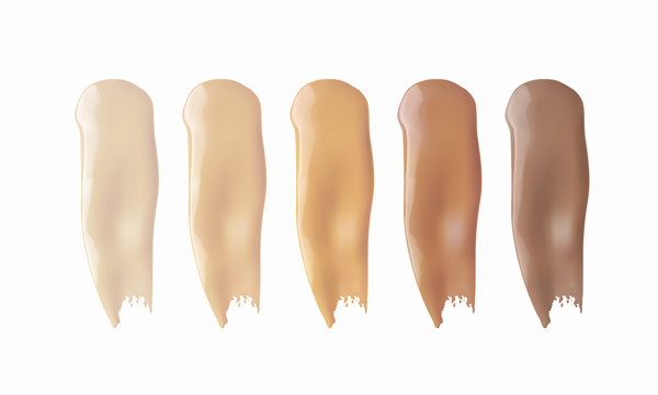 Foundation smears texture isolated on white background. Liquid color smudge swatch set. Vector cosmetic makeup concealer shades.
