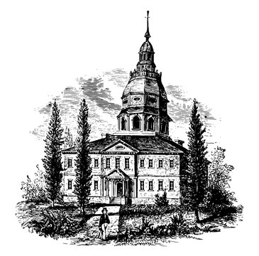 State House, Annapolis, MD vintage illustration