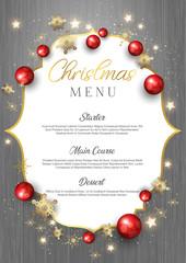 Christmas menu on wood texture