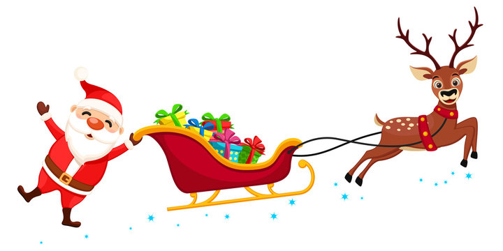 Santa Claus holding one hand on the sleigh with gifts and waving. Christmas characters