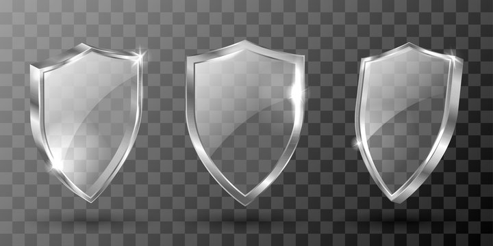 Glass shield realistic vector illustration. Blank transparent white acrylic glass panel with reflection and glow, award trophy or certificate template, front side view isolated on checkered background
