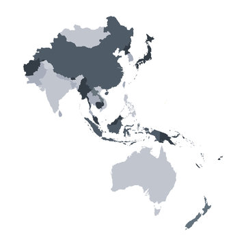 Grey map of Asia Pacific.