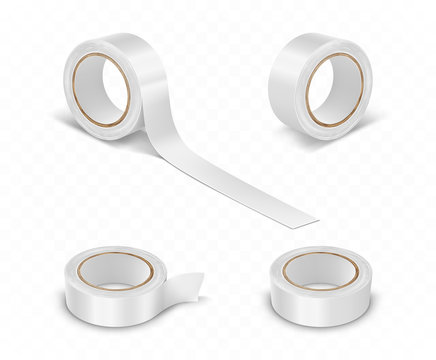 White duct roll adhesive tape realistic set vector illustration isolated on transparent background. Office and household supplies, construction sellotape