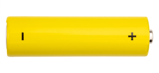 Yellow AA alkaline battery isolated on white background
