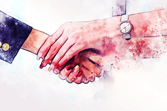Abstract colorful close up handshake business partner on watercolor illustration painting background.
