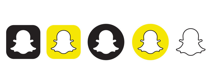 Snapchat logo set in different shape on a white background