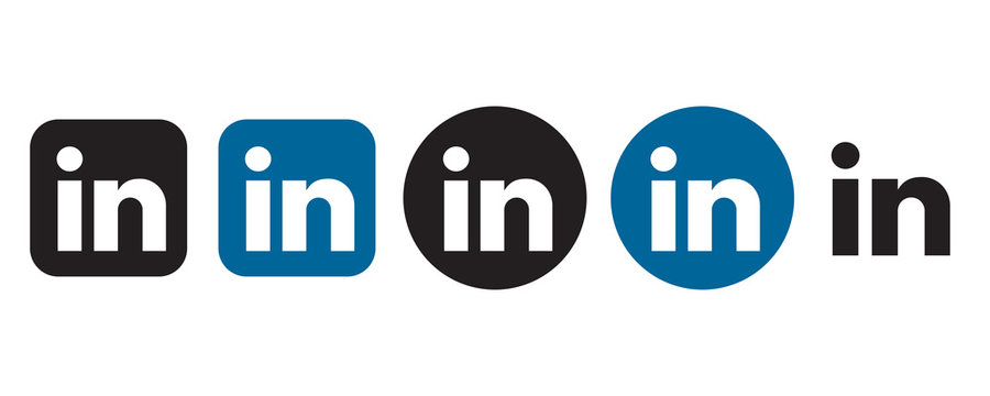 Linkedin logo set in different shape on a white background