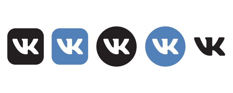Vkontakte logo set in different shape on a white background