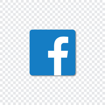 Facebook logo with shadow on a transparent background