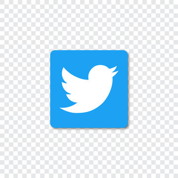 Twitter logo with shadow on a transparent background