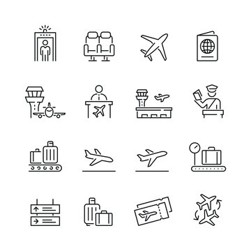 Airport related icons: thin vector icon set, black and white kit