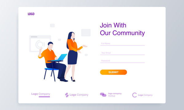 man and woman inviting gesture modern concept illustration with sign up form for website
