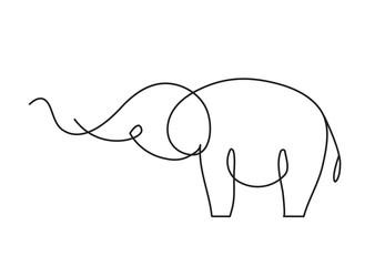 Continuous line elephant. Single line vector illustration.