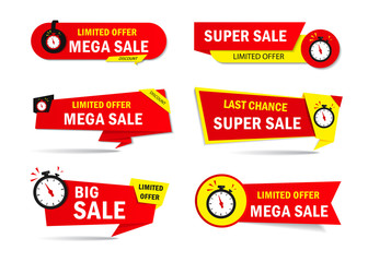 Limited offer sale tags with clock, time. Special discount price badge for promotion, retail, shop. Sticker, promo label, ribbon, flyer icon. Limited sales offer banner. vector isolated design