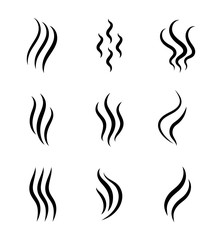 Obraz Aromas, smell vaporize icon. Outline symbols smoke, cooking steam odour, fume of flame. Hot aroma odors signs set. Wave of stench isolated. vector abstract illustration - fototapety do salonu