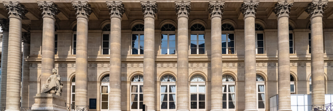 Paris, the Bourse, beautiful building in a chic area of the french capital